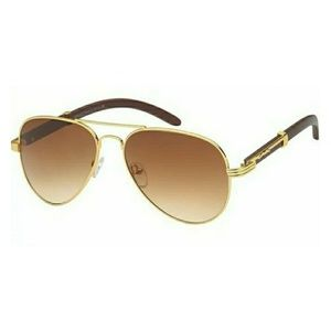 Other - Wood Frame Gold Trim Retro Aviator Sunglasses